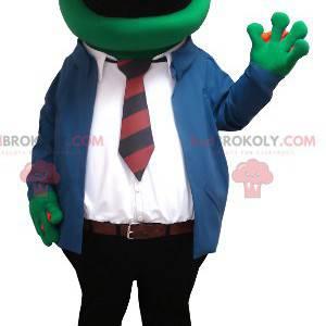 Mascotte della rana con gli occhiali e un vestito della