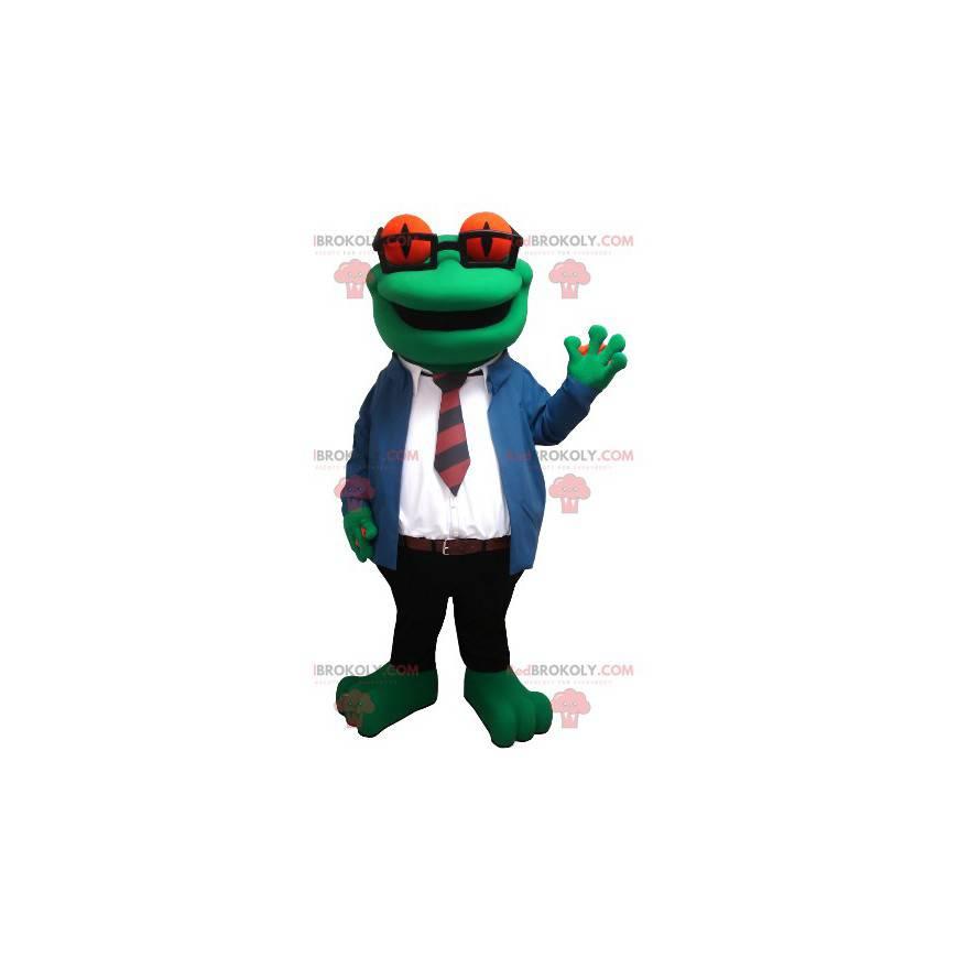Maskot žába s brýlemi a kravatový oblek - Redbrokoly.com