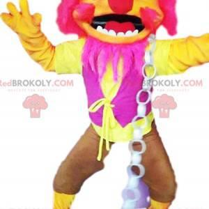 Mascota monstruo rosa neón y amarillo - Redbrokoly.com