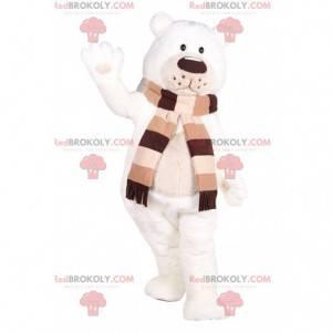Měkký maskot ledního medvěda s hnědým a béžovým šátkem -