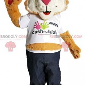 Maskot komický lev s jeho sluneční brýle - Redbrokoly.com