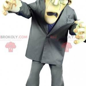 Maskot obludného Frankensteina v šedém kostýmu - Redbrokoly.com
