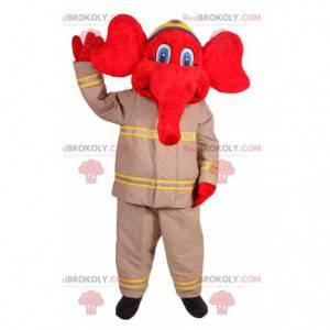 Mascotte elefante rosso in abito da vigile del fuoco -