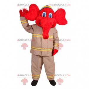 Rød elefant maskot i brandmandstøj - Redbrokoly.com