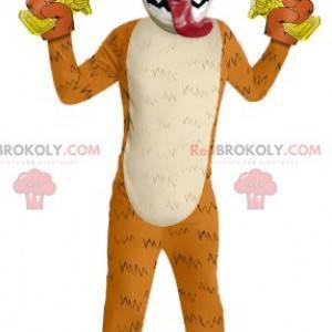 Orange drage maskot med pistoler - Redbrokoly.com