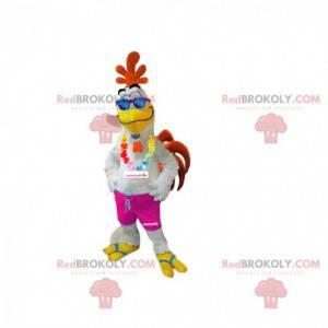 Mascota de gallo colorida y sonriente, con su collar hawaiano -