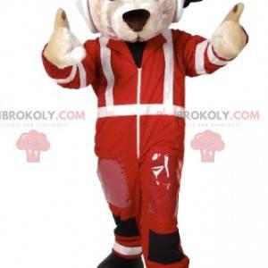 Maskot závodního jezdce bílého psa - Redbrokoly.com