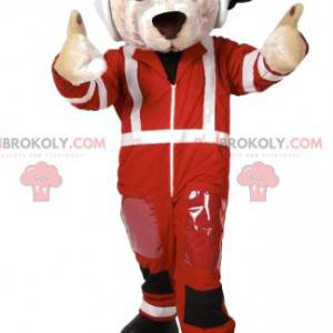 White dog mascot racing driver - Redbrokoly.com