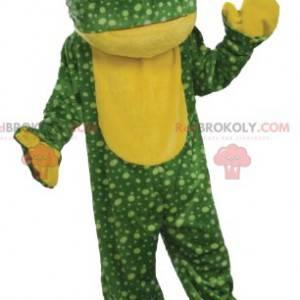 Grøn frø maskot med gule prikker - Redbrokoly.com