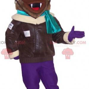 Hnědý pes maskot v letec oblečení - Redbrokoly.com