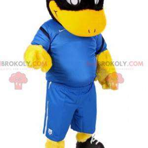 Černá kachna maskot ve fotbalovém oblečení - Redbrokoly.com