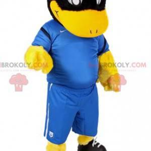 Mascotte zwarte eend in voetbaloutfit - Redbrokoly.com