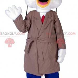 Mascote do pato branco com sua capa de chuva bege -
