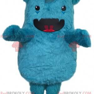 Maskottchen kleines blau behaartes Fantasiemonster -