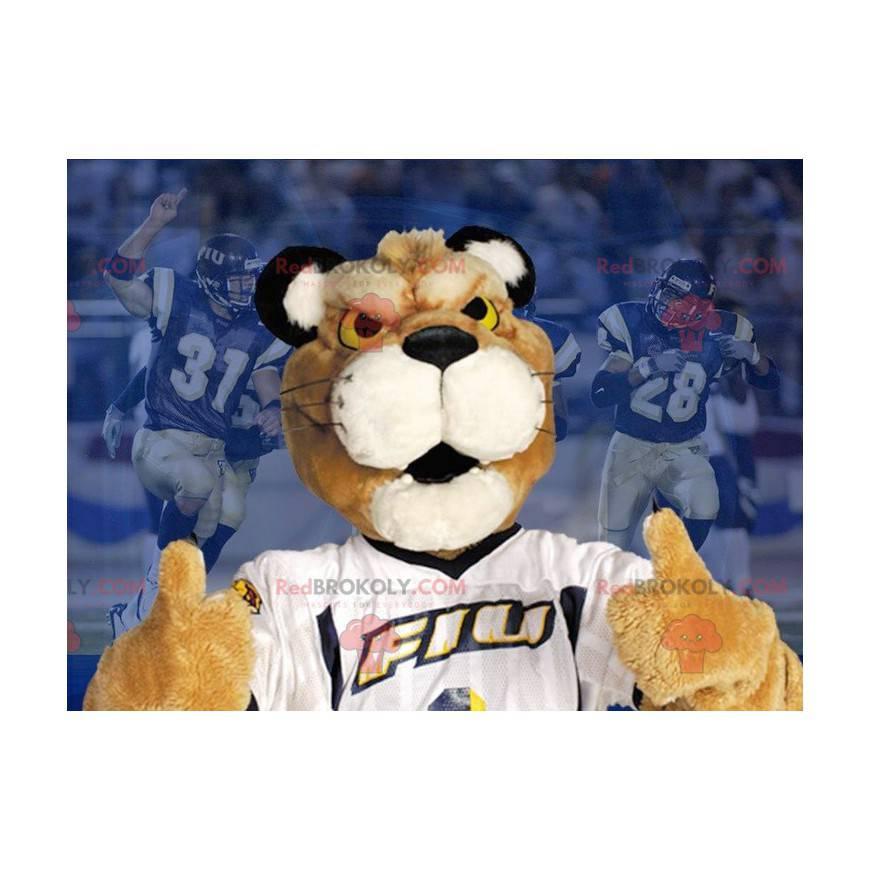 Maskot béžový a bílý tygr s bílým tričkem - Redbrokoly.com