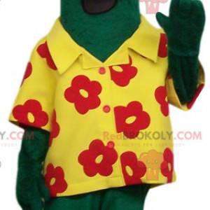 Mascote de cavalo verde estranho com sua camisa havaiana