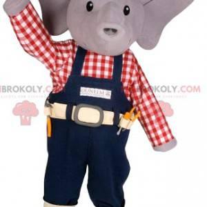 Kleine grijze muis mascotte in klusjesman outfit -