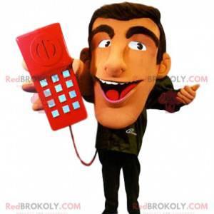 Maskottchen Vertreter mit seinem roten Telefon - Redbrokoly.com