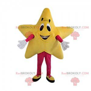 Maskot žluté hvězdy s úsměvem - Redbrokoly.com