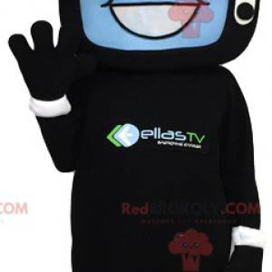 Mascot man with a head in the form of a television -