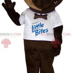 Braunes Hundemaskottchen mit seinem weißen T-Shirt -