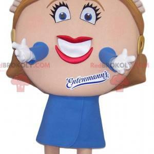 Mascotte donna civettuola con una testa sproporzionata -