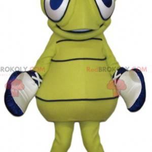 Mascote de vespa amarela com grandes olhos azuis -