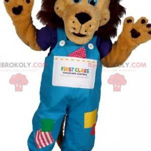 Lion maskot med overalls i lappeteil - Redbrokoly.com