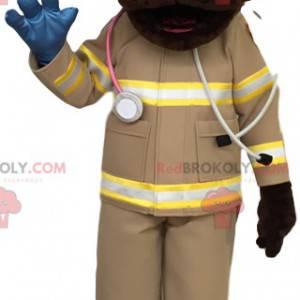 Brun Labrador-maskot i førstehjelpsantrekk - Redbrokoly.com