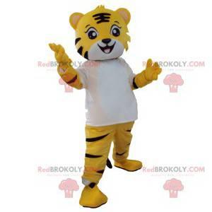 Kleines Tiger Maskottchen mit seinem weißen T-Shirt -