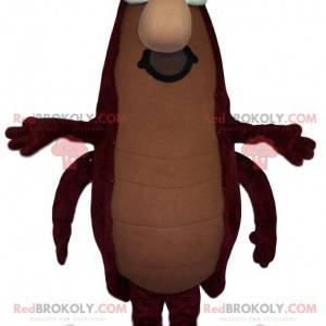 Bruine kakkerlak mascotte met een snor - Redbrokoly.com