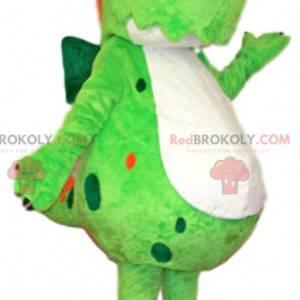 Neongrünes Dinosaurier-Maskottchen mit seinem roten Wappen -