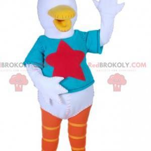 Mascote do pato branco com uma camiseta azul turquesa -