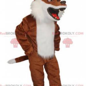 Mascota de zorro marrón y blanco muy realista - Redbrokoly.com