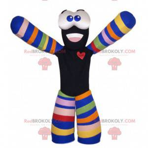 Black and multicolored snowman mascot - Redbrokoly.com
