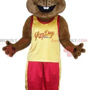 mascota del castor con una camiseta amarilla de abanico -