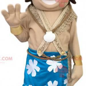Mascote do príncipe havaiano em trajes tradicionais -