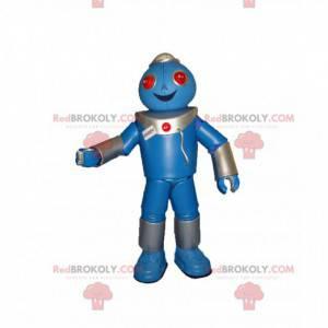 Sehr glückliches blaues Robotermaskottchen - Redbrokoly.com