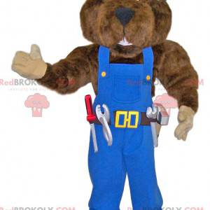 Big Bear Maskottchen Handwerker in blauen Overalls -