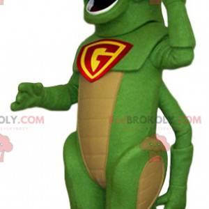 Mascote do gafanhoto verde com uma tampa vermelha -