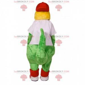 Mascotte di dinosauro verde con una maglia bianca per sostenere