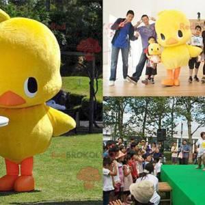 Mascote grande de pato amarelo e laranja - Redbrokoly.com