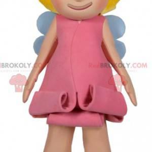 Lille smilende fe-maskot med en smuk lyserød kjole -