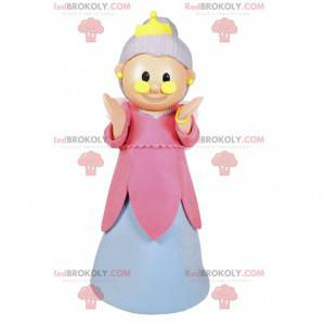 Fe maskot med en lyserød og hvid kjole og en krone -
