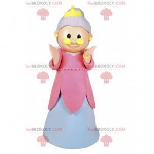 Mascota de hadas con un vestido rosa y blanco y una corona. -