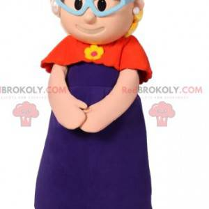 Mascotte bambina con cardigan rosso e cappello fucsia -