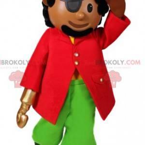 Mascote pirata com seu lindo traje e chapéu - Redbrokoly.com