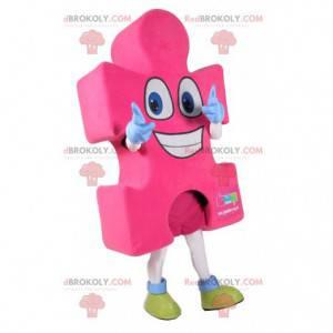 Super happy pink puzzle piece mascot - Redbrokoly.com