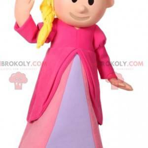 Prinsesse maskot med en smuk lyserød kjole og hendes krone -
