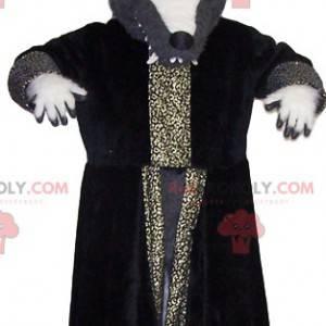 Mascotte lupo grigio con il suo grande cappotto da mago -